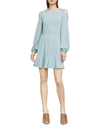 Bcbg Maxazria Bailey Cold-Shoulder Button-Detail Dress-BLUE-Small
