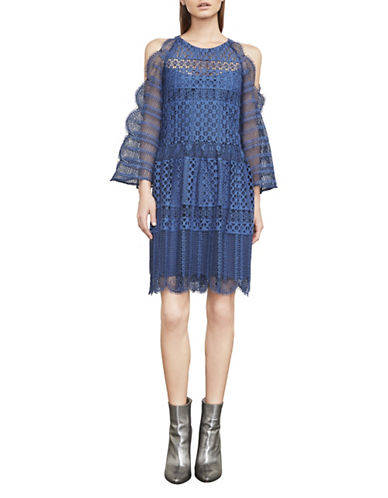 Bcbg Maxazria Finley Cold-Shoulder Lace Dress-BLUE-Small
