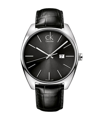 Calvin Klein Exchange Collection Stainless Steel Black Leather Strap Watch-BLACK-One Size