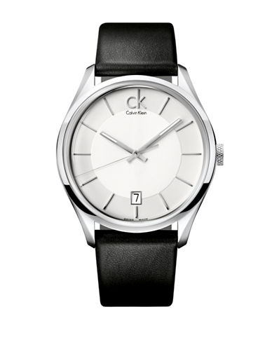Calvin Klein Gents Analog Leather Strap Watch-SILVER-One Size 88872164_SILVER_One Size