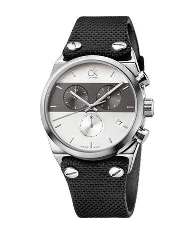 Calvin Klein Chronograph Eager Collection Stainless Steel Leather Material Strap Watch-BLACK-One Size