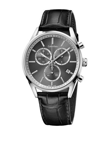Calvin Klein Chronograph Formality Collection Stainless Steel Black Leather Strap Watch-BLACK-One Size