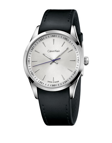 Calvin Klein Analog Bold Leather Strap Watch-BLACK-One Size