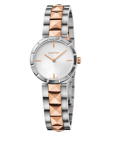 Calvin Klein Edge Collection Two-Tone Stainless Steel Link Bracelet Watch-ROSE GOLD-One Size