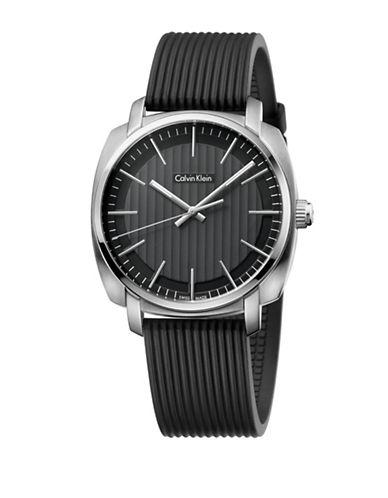 Calvin Klein Highline Silicone Strap Watch-BLACK-One Size