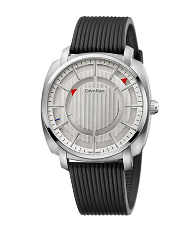 Calvin Klein Highline Silicone Strap Watch-BLACK-One Size