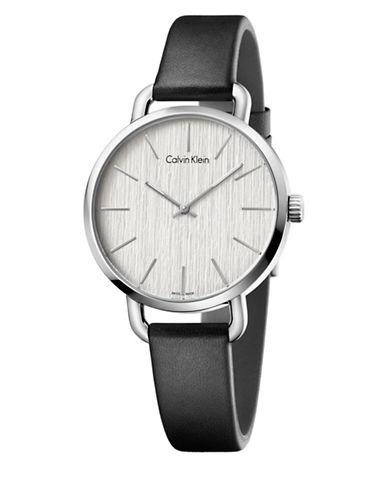 Calvin Klein Analog Even Silvertone Dial Black Leather Strap Watch-SILVER-One Size