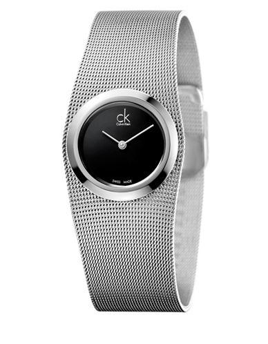 Calvin Klein City Analog Silvertone Mesh Strap Watch-SILVER-One Size