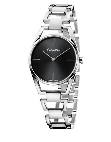 Calvin Klein Analog Dainty Stainless Steel Bracelet Watch-BLACK-One Size