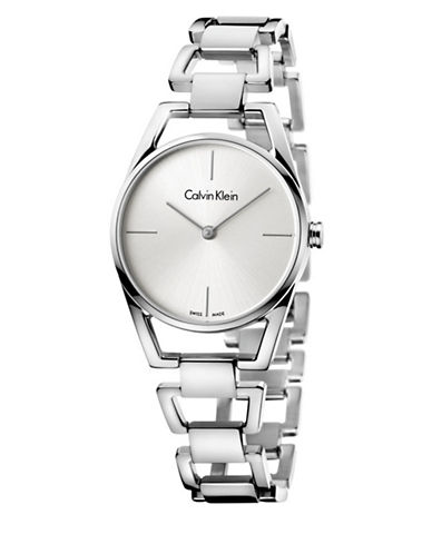 Calvin Klein Analog Dainty Stainless Steel Bracelet Watch-SILVER-One Size
