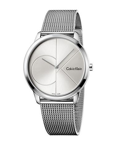 Calvin Klein Analog Minimal Collection Minimal Mesh Bracelet Watch-SILVER-One Size