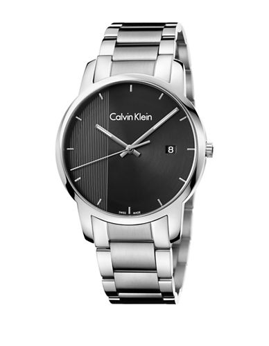 Calvin Klein Analog City Collection City Stainless Steel Bracelet Watch-BLACK-One Size
