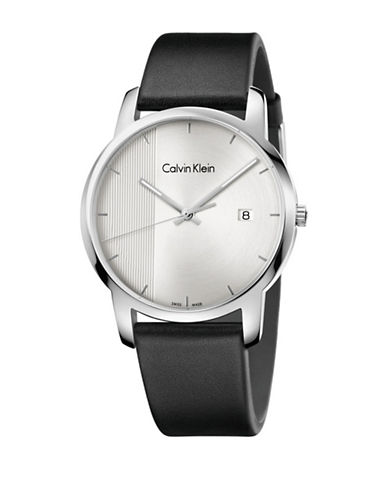 Calvin Klein Analog City Collection Stainless Steel Leather Strap Watch-SILVER-One Size