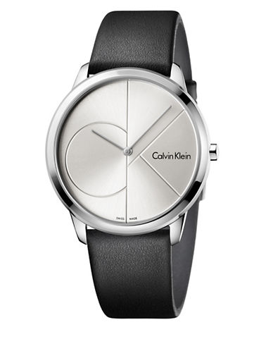 Calvin Klein Analog Minimal Black Leather Strap Watch-SILVER-One Size