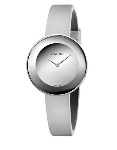 Calvin Klein Minimalist Analog Stainless Steel Leather Satin Strap Watch-SILVER-One Size