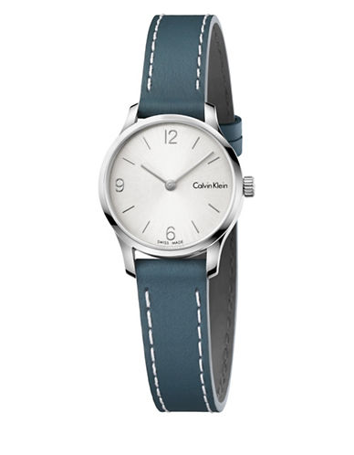 Calvin Klein Analog Endless Collection Stainless Steel Leather Strap Watch-BLUE-One Size