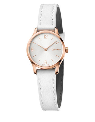 Calvin Klein Analog Endless Collection Rose-Goldtone Leather Strap Watch-WHITE-One Size