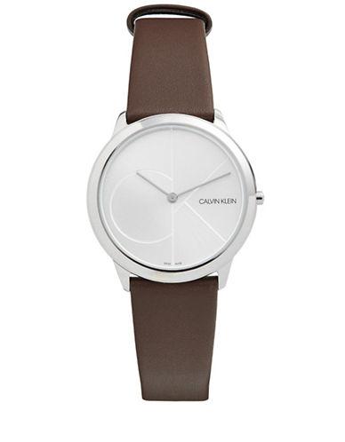 Calvin Klein Analog White Logo Dial Brown Leather Strap Watch-SILVER-One Size