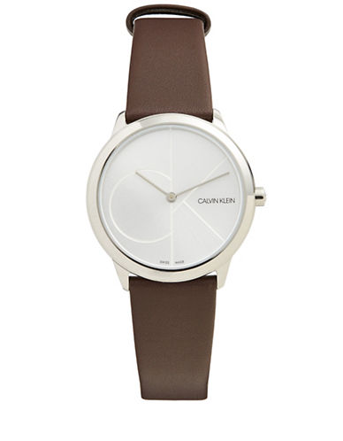 Calvin Klein Analog White Dial Brown Leather Strap Watch-SILVER-One Size