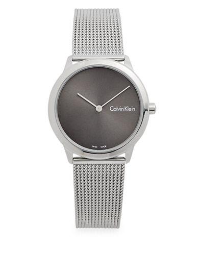 Calvin Klein Minimal Stainless Steel Analog Bracelet Watch-GREY-One Size
