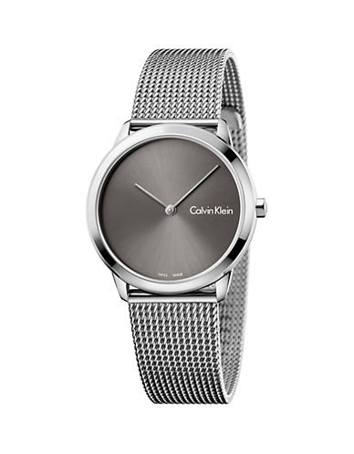 Calvin Klein Minimal Stainless Steel Analog Bracelet Watch-GREY-One Size