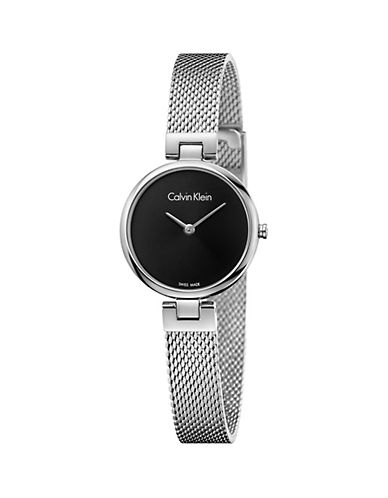 Calvin Klein Analog Black Dial Stainless Steel Mesh Bracelet Watch-BLACK-One Size