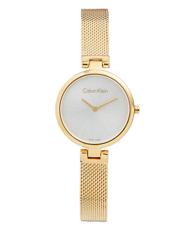 Calvin Klein Analog White Dial Goldtone Stainless Steel Mesh Bracelet Watch-GOLD-One Size