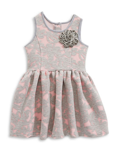 Pippa & Julie Burnout Fit-and-Flare Dress-PINK-5