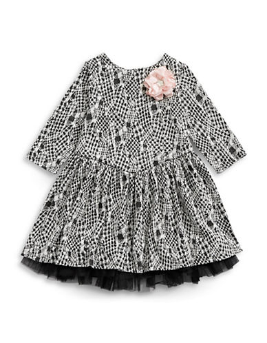 Pippa & Julie Woven Print Dress-BLACK-4