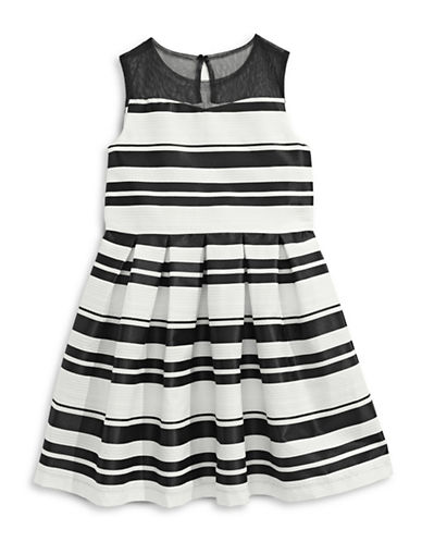 Pippa & Julie Textured Stripe Illusion Dress-BLACK-10