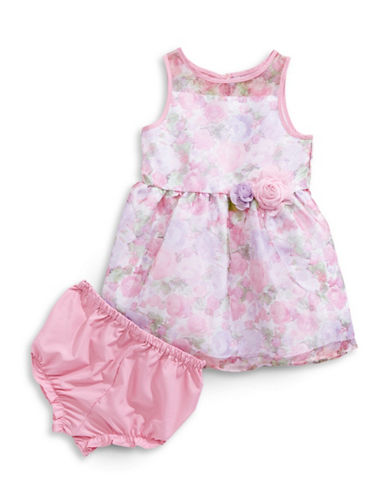 Marmellata Floral-Printed Organza Dress-PURPLE-24 Months