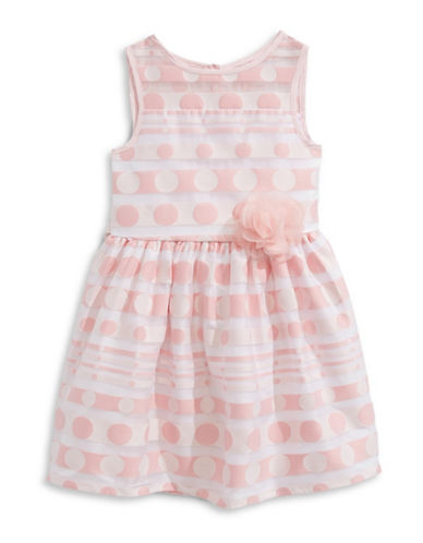 Marmellata Shadow Stripe and Dot Dress-PINK-6X