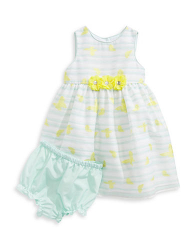 Marmellata Butterfly Shadow Stripe Dress-GREEN-24 Months