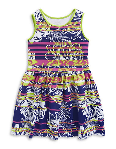 Marmellata Floral Stripe Scuba Skater Dress-MULTI-COLOURED-12