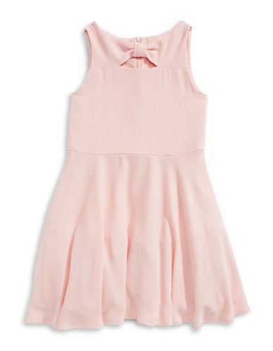 Marmellata Bow Neck Crepe Dress-PEACH-10
