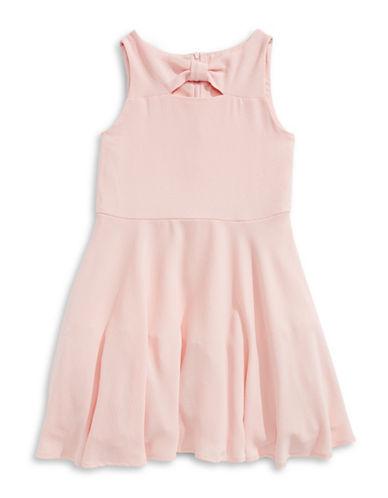 Marmellata Bow Neck Crepe Dress-PEACH-8