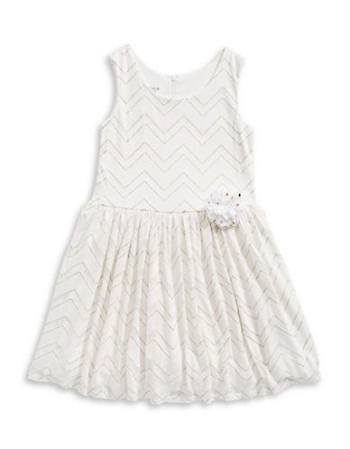 Marmellata Chevron Fit-And-Flare Dress-WHITE-12