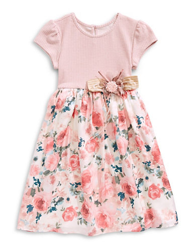 Marmellata Floral Skirt T-Shirt Dress-PINK-5