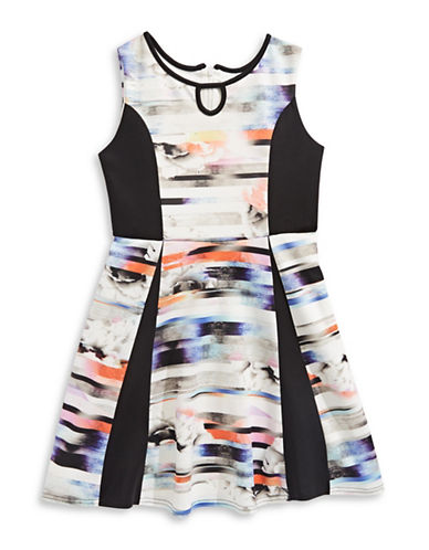Pippa & Julie Abstract Sleeveless Skater Dress-MULTI-COLOURED-7