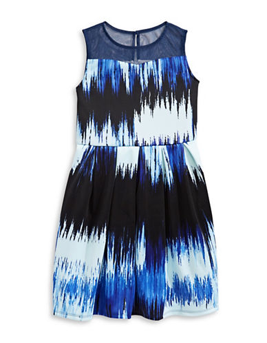 Pippa & Julie Illusion Yoke Pleated Scuba Dress-BLUE-12