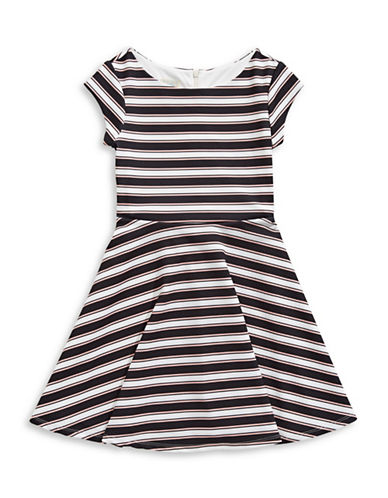 Marmellata Textured Stripe Dress with Necklace-MULTI-COLOURED-16