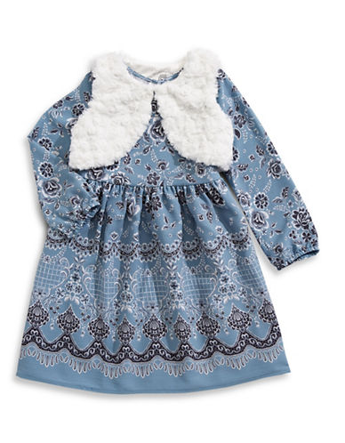 Marmellata Floral Fleece Dress and Vest Set-BLUE-6X