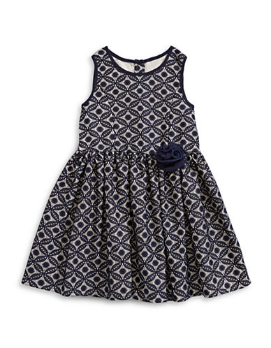 Marmellata Floral Lace Dress-NAVY-6X