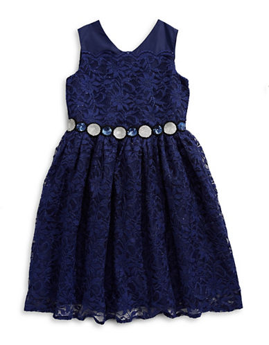 Marmellata Shimmer Lace Dress-BLUE-14