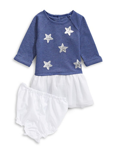 Pippa & Julie Two-Piece Star Dress and Bloomers Set-NAVY-24 Months