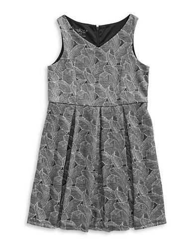 Pippa & Julie Embossed Foil Print Sleeveless Dress-GREY-8