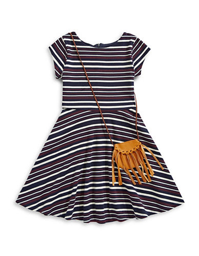 Marmellata Stripe Pleated Dress-BLACK-12
