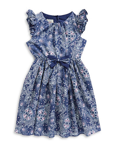 Marmellata Blue Print Ruffle Sleeve Dress with Bow-BLUE-2T