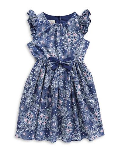Marmellata Blue Print Ruffle Sleeve Dress with Bow-BLUE-6X