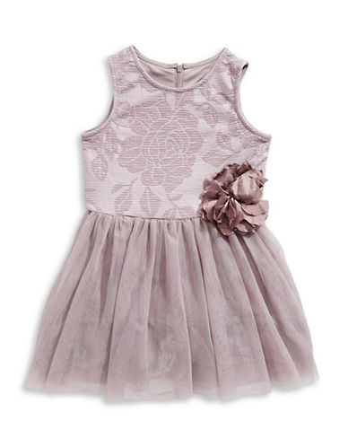 Pippa & Julie Embossed Rose Tutu Dress-PINK-4